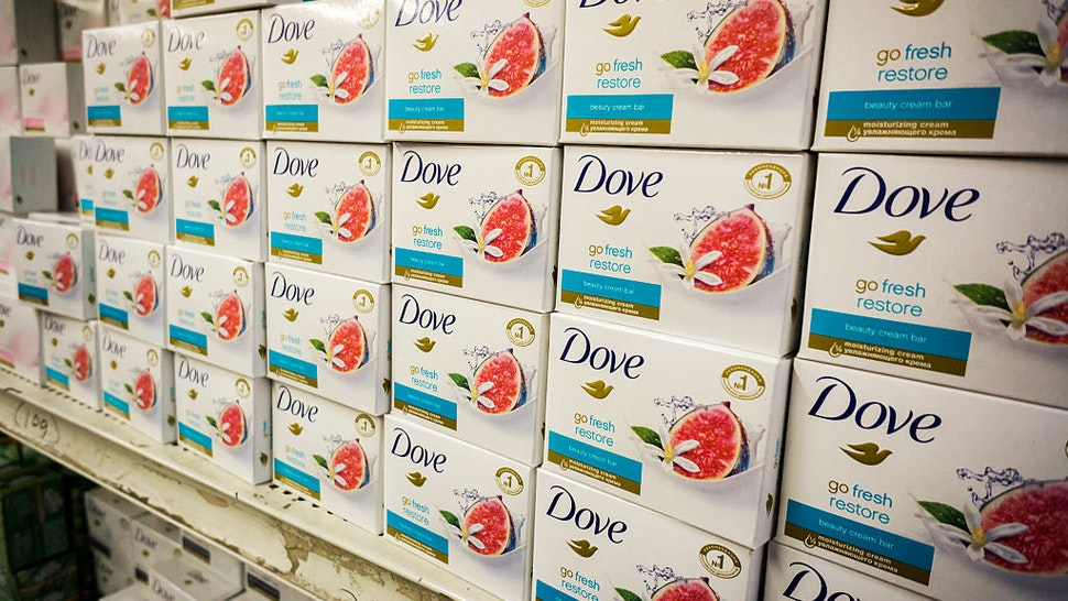Dove brand soap on the shelves of a store in New York on Sunday, January 3, 2016.