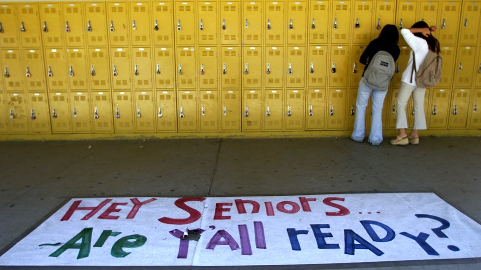 Students returning to classes at Sunny Hills High in Fullerton found their lockers painted with a fresh coat of bright yellow paint courtesy of the PTA. (Photo by Mark Boster/Los Angeles Times via Getty Images)