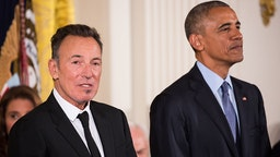 President Barack Obama awarded the Presidential Medal of Freedom to singer-songwriter Bruce Springsteen. (Photo by Cheriss May/NurPhoto via Getty Images)