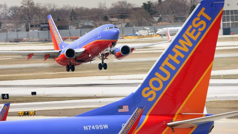 CHICAGO - APRIL 3: A Southwest Airlines jet takes off at Midway Airport April 3, 2008 in Chicago, Illinois. Officials from Southwest and other airlines will testify at a safety hearing on Capitol Hill today following recent cancellations of flights by Southwest, United, American and Delta airlines as jets were taken out of service for safety inspections.