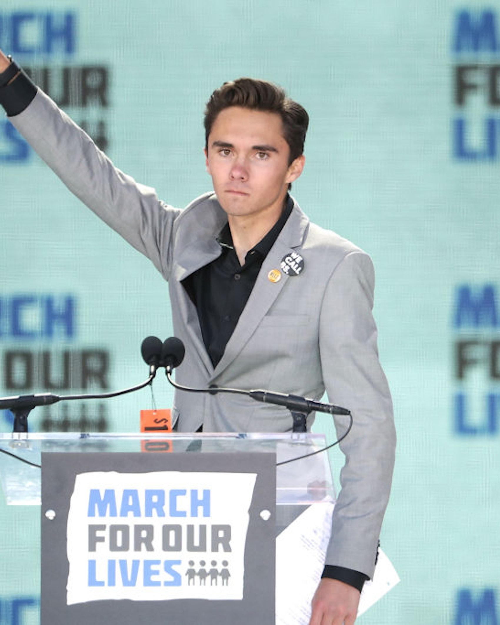 WASHINGTON, DC - MARCH 24: Marjory Stoneman Douglas High School Student David Hogg addresses the March for Our Lives rally on March 24, 2018 in Washington, DC. Hundreds of thousands of demonstrators, including students, teachers and parents gathered in Washington for the anti-gun violence rally organized by survivors of the Marjory Stoneman Douglas High School shooting on February 14 that left 17 dead. More than 800 related events are taking place around the world to call for legislative action to address school safety and gun violence. (Photo by Chip Somodevilla/Getty Images)