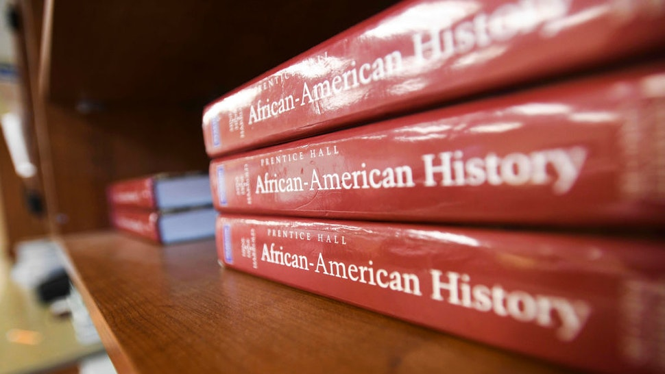 BIRMINGHAM, AL - APRIL 8: An Africa-American textbook sits on the shelf in an advanced placement social studies class at Huffman High School in Birmingham, Ala., on April 8, 2019.