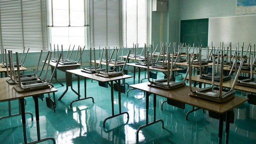 HOLLYWOOD, CALIFORNIA - AUGUST 13: An empty classroom is seen at Hollywood High School on August 13, 2020 in Hollywood, California.