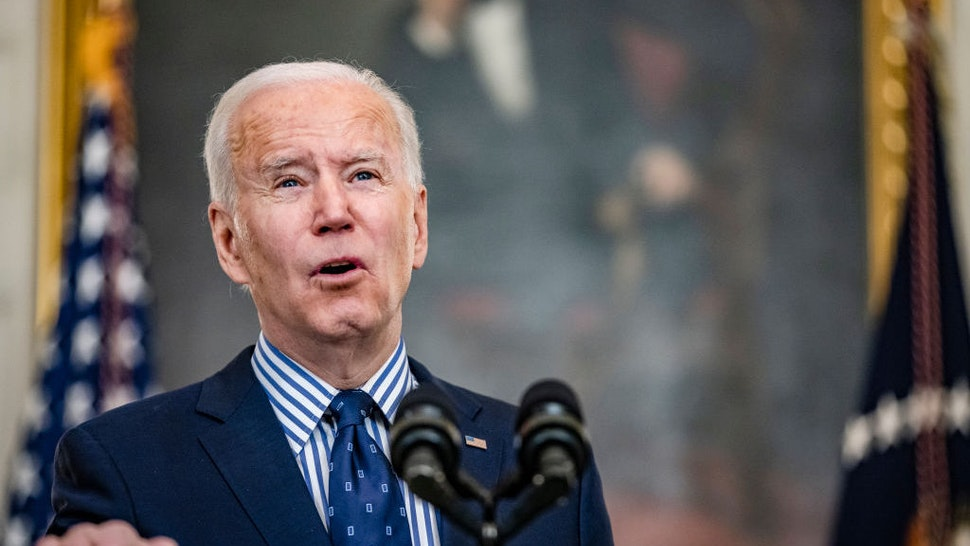 WASHINGTON, DC - MARCH 06: President Joe Biden speaks from the State Dining Room following the passage of the American Rescue Plan in the U.S. Senate at the White House on March 6, 2021 in Washington, DC. (Photo by Samuel Corum/Getty Images) *** Local Caption *** Joe Biden