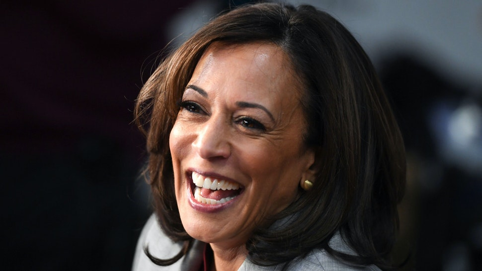 Democratic presidential hopeful California Senator Kamala Harris speaks to the press in the Spin Room after participating in the fifth Democratic primary debate of the 2020 presidential campaign season co-hosted by MSNBC and The Washington Post at Tyler Perry Studios in Atlanta, Georgia on November 20, 2019.