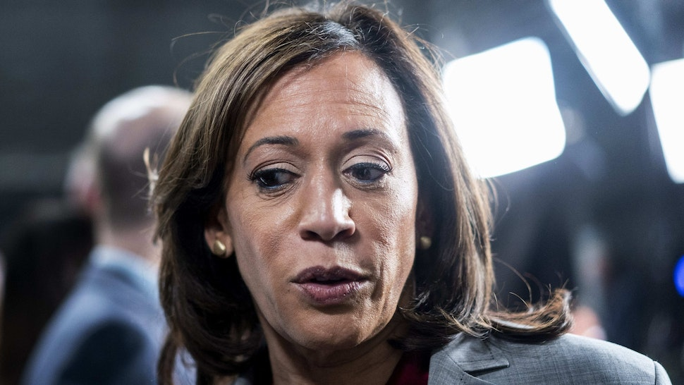 ATLANTA, GEORGIA - NOVEMBER 20: Democratic Presidential candidate Senator Kamala Harris (D-CA) speaks to journalists in the spin room after the Democratic presidential debate at Tyler Perry Studios on Wednesday, November 20, 2019, in Atlanta, Georgia. The 10 qualifying candidates participated in the campaign seasons fifth debate, hosted by The Washington Post via Getty Images and MSNBC.