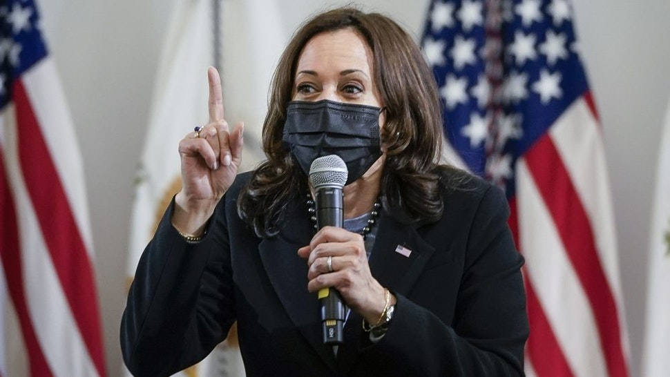 WEST HAVEN, CT - MARCH 26: U.S. Vice President Kamala Harris delivers remarks after visiting a classroom at West Haven Child Development Center on March 26, 2021 in West Haven, Connecticut. Harris is traveling to New Haven, Connecticut to promote the Biden administration's recently passed $1.9 billion federal stimulus package.