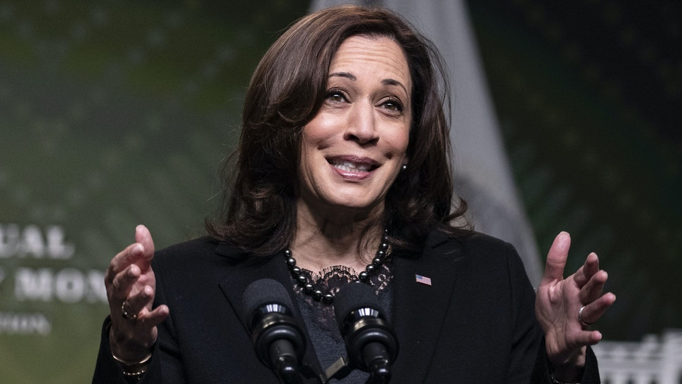WASHINGTON, DC - FEBRUARY 27: Vice President Kamala Harris speaks at the White House during a Black History Month Virtual Celebration on February 27, 2021 in Washington, DC. Congressman Steny H. Hoyer (D-MD) announced the 40th annual Black History Month Virtual Celebration today.