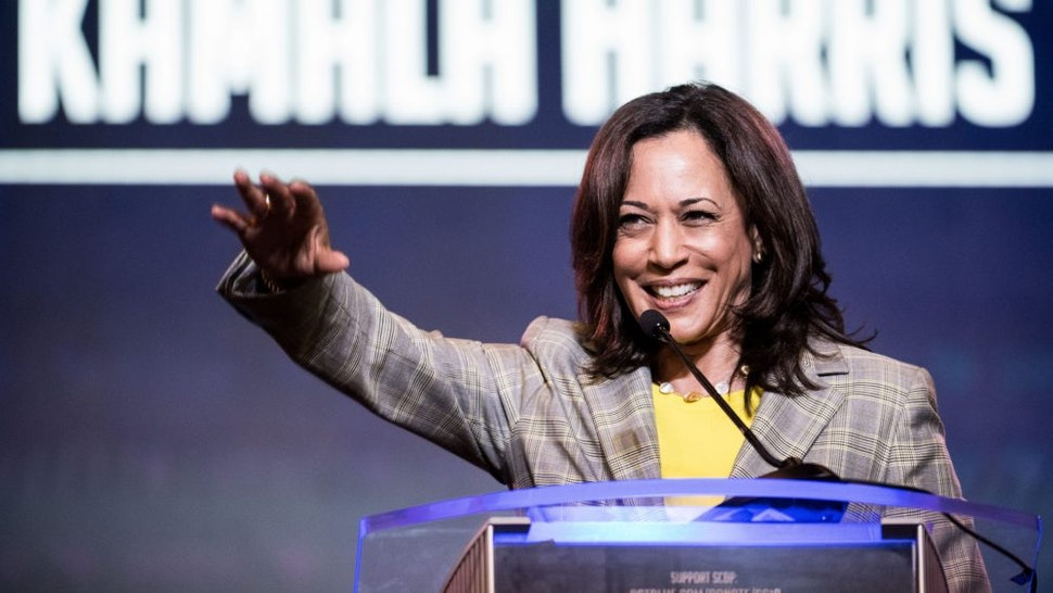 COLUMBIA, SC - JUNE 22: Democratic presidential candidate, Sen. Kamala Harris (D-CA) addresses the crowd at the 2019 South Carolina Democratic Party State Convention on June 22, 2019 in Columbia, South Carolina. Democratic presidential hopefuls are converging on South Carolina this weekend for a host of events where the candidates can directly address an important voting bloc in the Democratic primary.