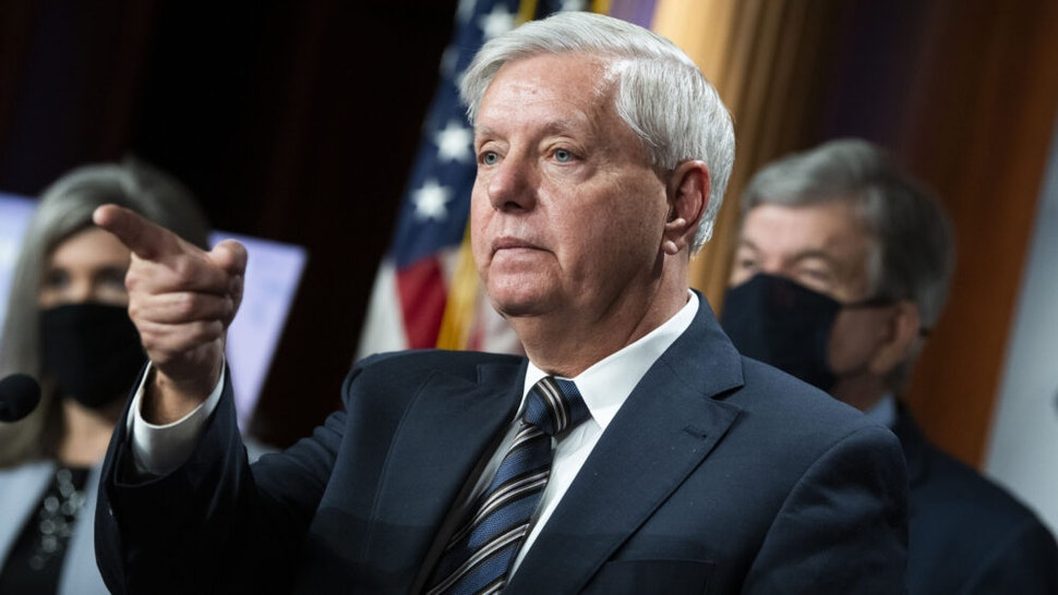 UNITED STATES - MARCH 05: Sens. Lindsey Graham, R-S.C., Joni Ernst, R-Iowa, and Roy Blunt, R-Mo., conduct a news conference as the Senate debates the coronavirus relief package on Friday, March 5, 2021.