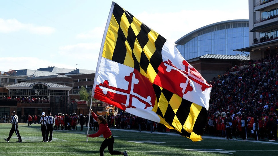 COLLEGE PARK, MD - NOVEMBER 17: The Maryland state flag on display during the game between the Ohio State Buckeyes and the Maryland Terrapins at Maryland Stadium on November 17, 2018 in College Park, Maryland. (Photo by G Fiume/Maryland Terrapins/Getty Images)