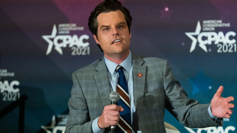 Representative Matt Gaetz, a Republican from Florida, speaks during panel at the Conservative Political Action Conference (CPAC) in Orlando, Florida, U.S., on Saturday, Feb. 27, 2021. Donald Trump will speak at the annual Conservative Political Action Campaign conference in Florida, his first public appearance since leaving the White House, to an audience of mostly loyal followers. Photographer: Elijah Nouvelage/Bloomberg