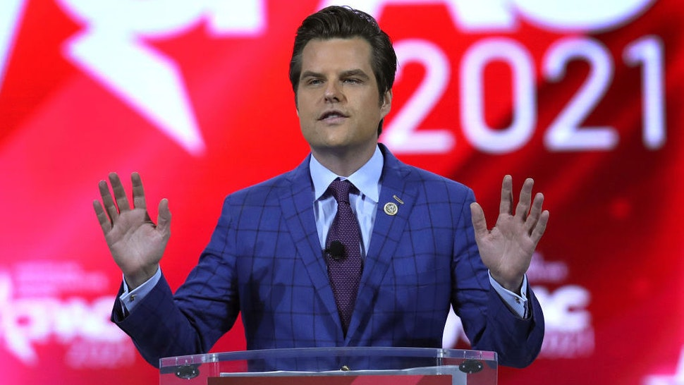 ORLANDO, FLORIDA - FEBRUARY 26: Rep. Matt Gaetz (R-FL) addresses the Conservative Political Action Conference being held in the Hyatt Regency on February 26, 2021 in Orlando, Florida. Begun in 1974, CPAC brings together conservative organizations, activists, and world leaders to discuss issues important to them. (Photo by Joe Raedle/Getty Images)