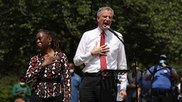 NEW YORK, NEW YORK - JUNE 04: New York Mayor Bill de Blasio speaks to an estimated 10,000 people as they gather in Brooklyn's Cadman Plaza Park for a memorial service for George Floyd, the man killed by a Minneapolis police officer on June 04, 2020 in New York City. Floyd's brother, Terrence, local politicians and civic and religious leaders also attended the event before marching over the Brooklyn Bridge. (Photo by Spencer Platt/Getty Images)