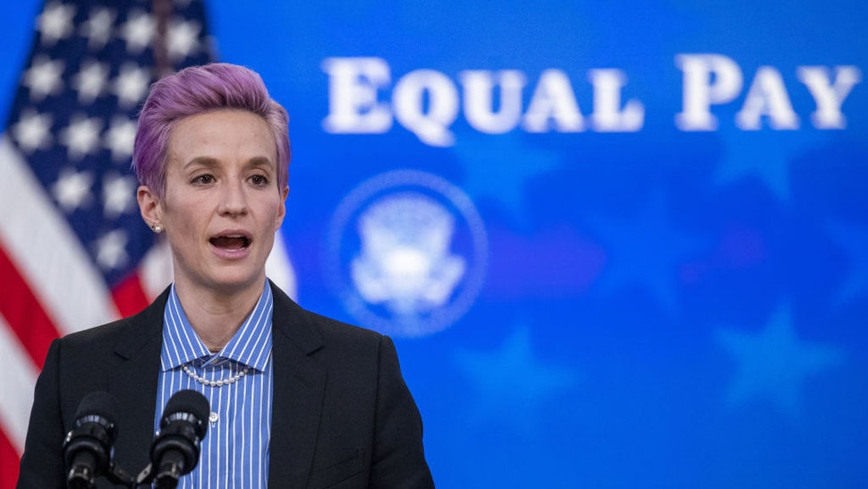 Megan Rapinoe, player with the U.S. Women's National Soccer Team, speaks during an event marking Equal Pay Day in the Eisenhower Executive Office Building in Washington, D.C., U.S., on Wednesday, March 24, 2021. The Biden administration has signaled plans to strengthen gender equity at a time when women in the U.S. are disproportionately exiting the workforce compared with men during the Covid-19 pandemic, and are paid about 82 cents on the dollar compared with men. Photographer: Shawn Thew/EPA/Bloomberg