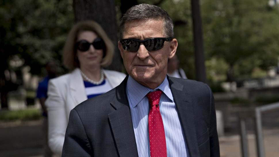 Michael Flynn, former U.S. national security adviser, exits federal court in Washington, D.C., U.S., on Monday, June 24, 2019. Flynn may have a singular goal in replacing his longtime criminal defense attorneys this month with the politically provocative Sidney Powell, to win a pardon from his old boss, President Donald Trump. Photographer: Andrew Harrer/Bloomberg