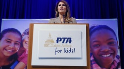 First Lady Melania Trump addresses the 2020 National Parent Teacher Association (PTA) Legislative Conference at the Westin Alexandria Old Town on March 10, 2020 in Alexandria, Virginia. (Photo by Olivier DOULIERY / AFP) (Photo by OLIVIER DOULIERY/AFP via Getty Images)