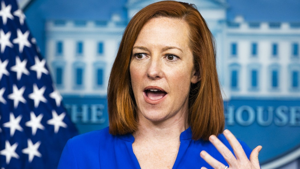 Jen Psaki, White House press secretary, speaks during a news conference in the James S. Brady Press Briefing Room at the White House in Washington, D.C., U.S., on Friday, March 12, 2021. PresidentBidenoffered Americans a glimpse ofhopethat life would begin to return to normal this summer as he marked a year of U.S. shutdowns and death, ordering a further acceleration of the governments efforts to end the pandemic.
