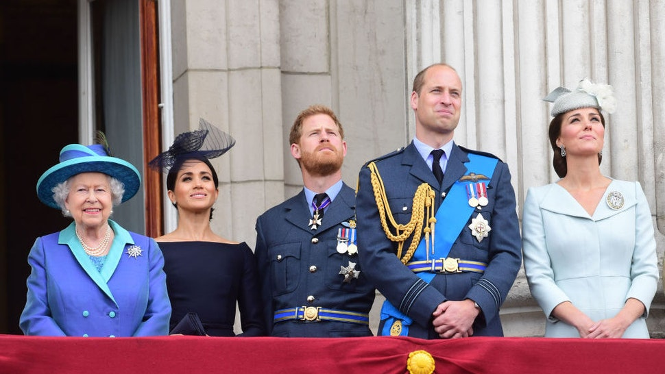 From left, Queen Elizabeth II, Meghan Duchess of Sussex, Prince Harry Duke of Sussex, Prince William Duke of Cambridge and Katherine Duchess of Cambridge watch the RAF 100th anniversary flypast from the balcony of Buckingham Palace, London, Tuesday 10th July, 2018. Photo: Paul Grover for the Telegraph