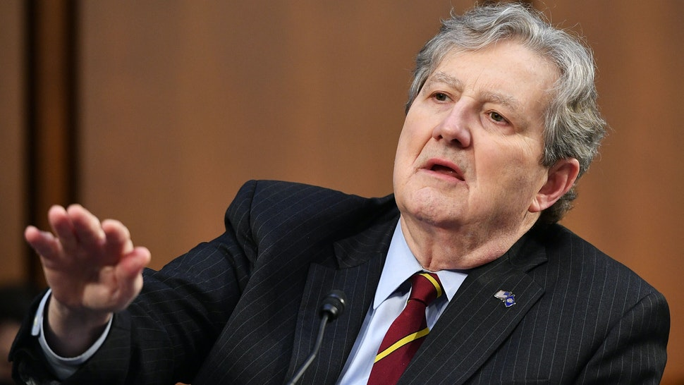 Senator John Kennedy, R-LA, speaks as FBI Director Christopher Wray testifies before the Senate Judiciary Committee on the January 6th insurrection, in the Hart Senate Office Building on Capitol Hill in Washington, DC on March 2, 2021.