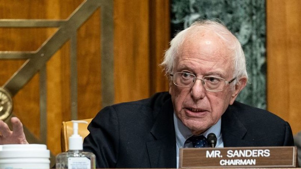 Chairman Sen. Bernie Sanders, I-VT, speaks as Neera Tanden, nominee for Director of the Office of Management and Budget (OMB), testifies during a Senate Committee on the Budget hearing on Capitol Hill in Washington, DC on February 10, 2021.