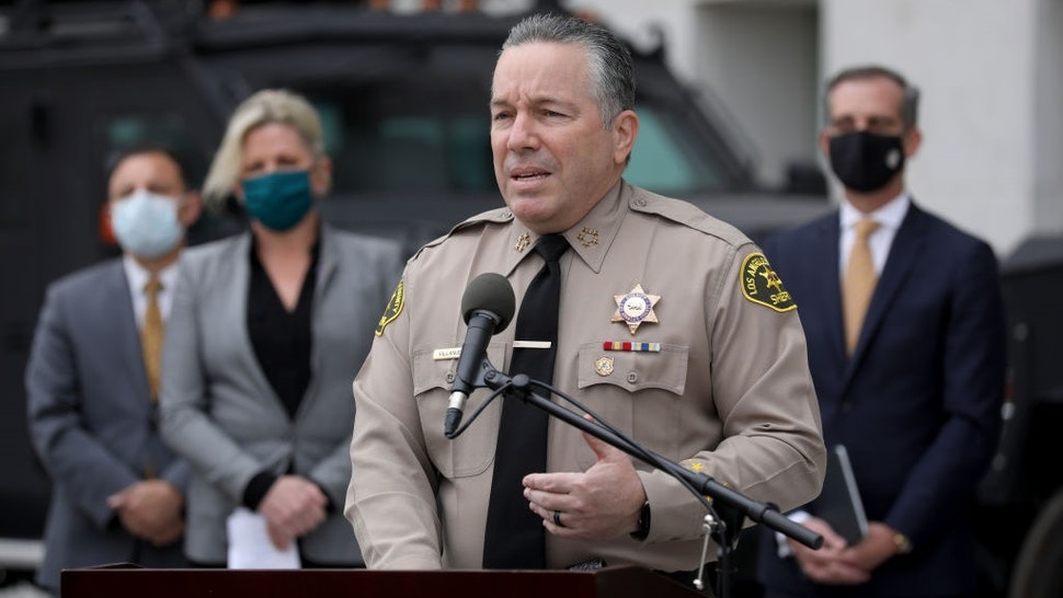 LOS ANGELES, CA - JANUARY 19: Los Angeles County Sheriff Alex Villanueva at a news conference to discuss public safety preparedness for potential responses to the presidential inauguration, held at the Hall of Justice on Tuesday, Jan. 19, 2021.
