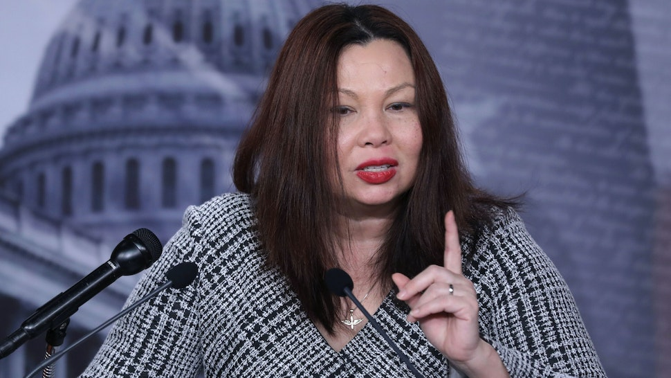 WASHINGTON, DC - NOVEMBER 17: Sen. Tammy Duckworth (D-IL) talks to reporters during a news conference at the U.S. Capitol on November 17, 2020 in Washington, DC. Duckworth and fellow Senate Democrats were critical of President Donald Trump's continued claims of election fraud and his refusal to concede the election to President-elect Joe Biden.