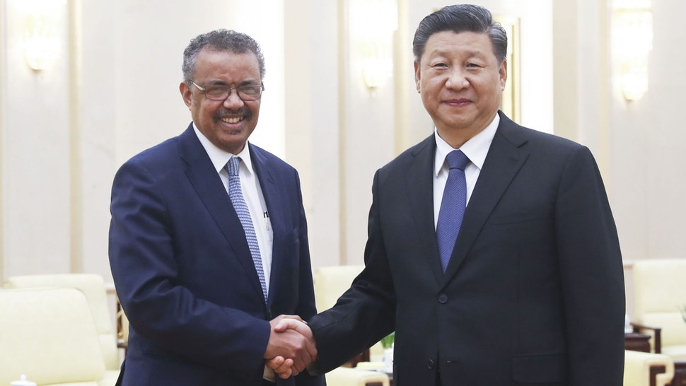 "BEIJING, January. 28, 2020 -- Xi Jinping meets with visiting World Health Organization (WHO) Director-General Tedros Adhanom Ghebreyesus at the Great Hall of the People in Beijing, capital of China, Jan. 28, 2020. TO GO WITH ""Xi Focus: Chronicle of Xi's leadership in China's war against coronavirus"""