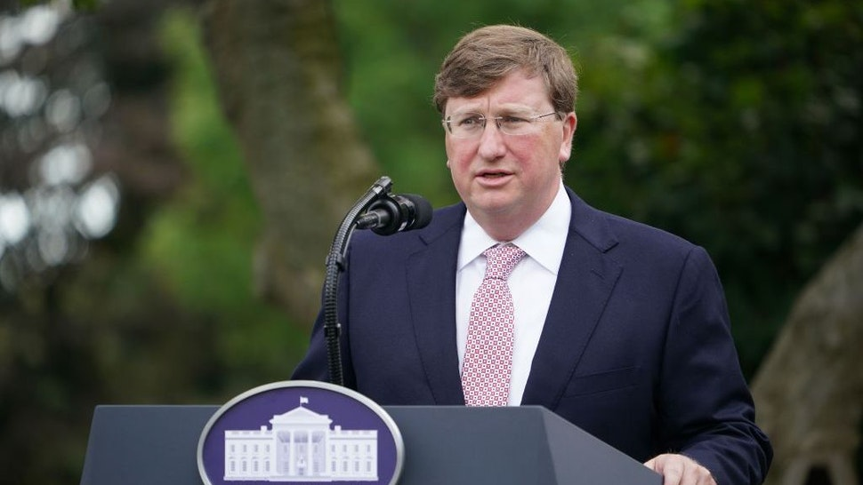 Mississippi Gov. Tate Reeves speaks on Covid-19 testing in the Rose Garden of the White House in Washington, DC on September 28, 2020. (Photo by MANDEL NGAN / AFP) (Photo by MANDEL NGAN/AFP via Getty Images)