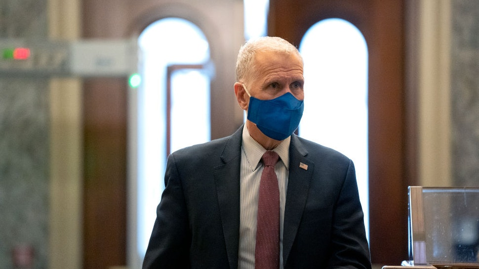 WASHINGTON, DC - DECEMBER 11: U.S. Sen. Thom Tillis (R-NC) wears a protective mask while arriving to the U.S. Capitol on December 11, 2020 in Washington, DC. Lawmakers are facing a midnight deadline to pass a continuing resolution to avert a partial shutdown and fund the government for another week.