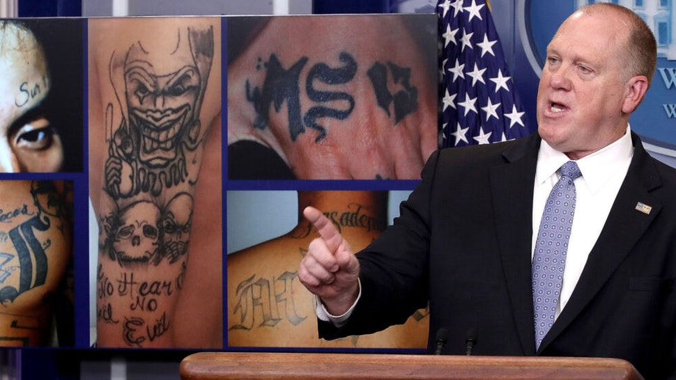 WASHINGTON, DC - JULY 27: Tom Homan, Director of Immigration and Customs Enforcement, answers questions in front of gang related photos from the MS-13 gang during a daily briefing at the White House July 27, 2017 in Washington, DC. Homan answered a range of questions during the briefing.