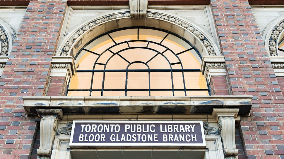 TORONTO, ONTARIO, CANADA - 2015/10/25: Vintage architecture at Toronto Public Library, Bloor Gladstone branch. Toronto Public Library is the largest public library system in Canada, and the world's busiest urban library system.