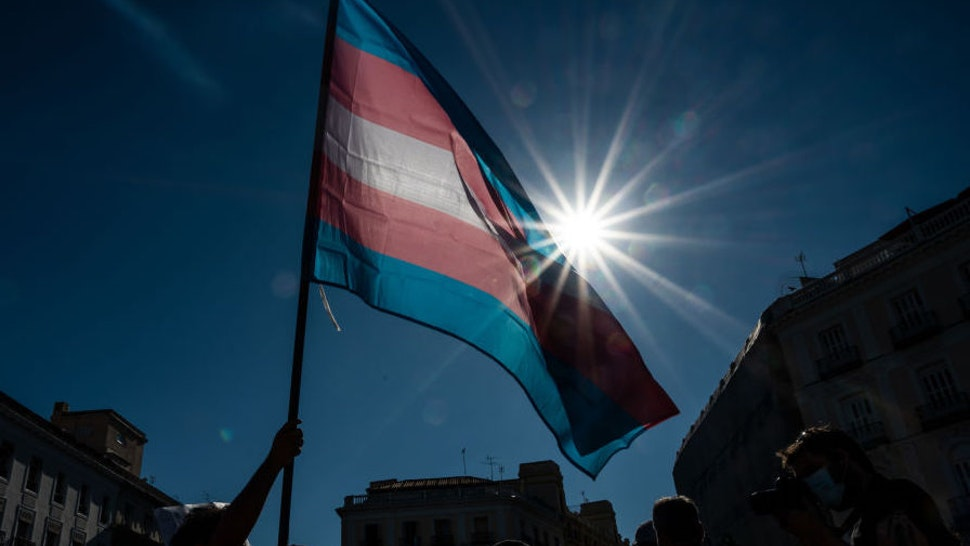 Demonstrator waving the Trans flag attends a protest where Trans community demand a state law that will guarantee gender self-determination. The protest coincides with the Pride celebrations that are taking place this week. (Photo by Marcos del Mazo/LightRocket via Getty Images)