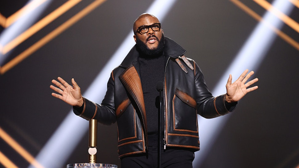 SANTA MONICA, CALIFORNIA - NOVEMBER 15: 2020 E! PEOPLE'S CHOICE AWARDS -- In this image released on November 15, Tyler Perry accepts People's Champion Award onstage for the 2020 E! People's Choice Awards held at the Barker Hangar in Santa Monica, California and on broadcast on Sunday, November 15, 2020.