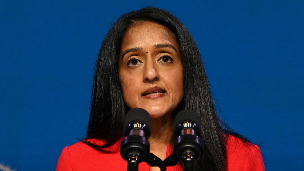 Vanita Gupta, nominee for Associate Attorney General, speaks after being nominated by US President-elect Joe Biden at The Queen theater January 7, 2021 in Wilmington, Delaware.