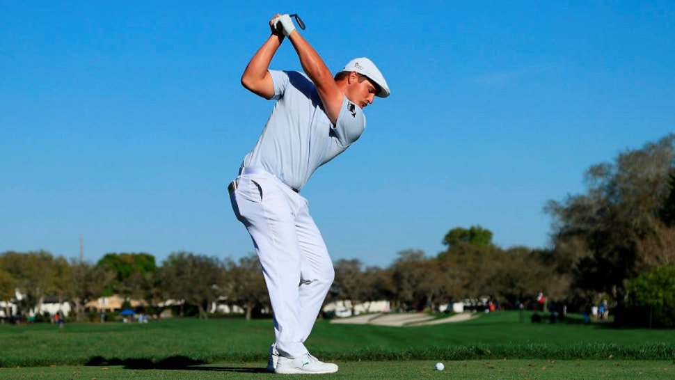 ORLANDO, FLORIDA - MARCH 07: Bryson DeChambeau of the United States plays his shot from the 11th tee during the final round of the Arnold Palmer Invitational Presented by MasterCard at the Bay Hill Club and Lodge on March 07, 2021 in Orlando, Florida. (Photo by