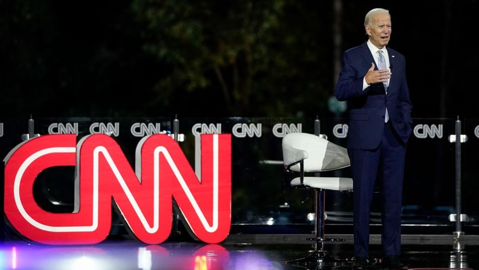 MOOSIC, PA - SEPTEMBER 17: Democratic presidential nominee and former Vice President Joe Biden participates in a CNN town hall event on September 17, 2020 in Moosic, Pennsylvania. Due to the coronavirus, the event is being held outside with audience members in their cars. Biden grew up nearby in Scranton, Pennsylvania. (Photo by