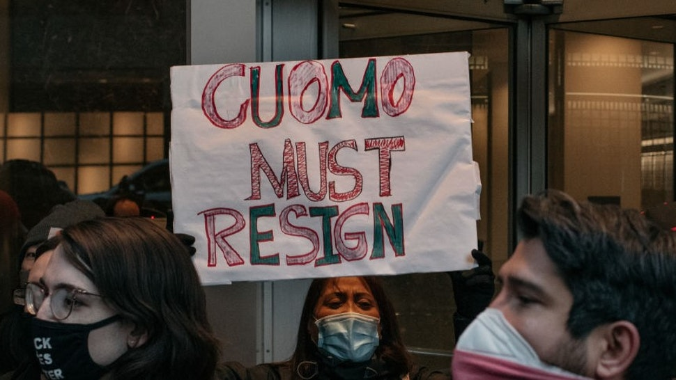 NEW YORK, NY - MARCH 02: Demonstrators call on New York Gov. Andrew Cuomo to resign at a rally on March 2, 2021 in New York City. Calls for Cuomo's impeachment or resignation have escalated in the wake of multiple women coming forward to accuse the governor of sexual harassment. (Photo by