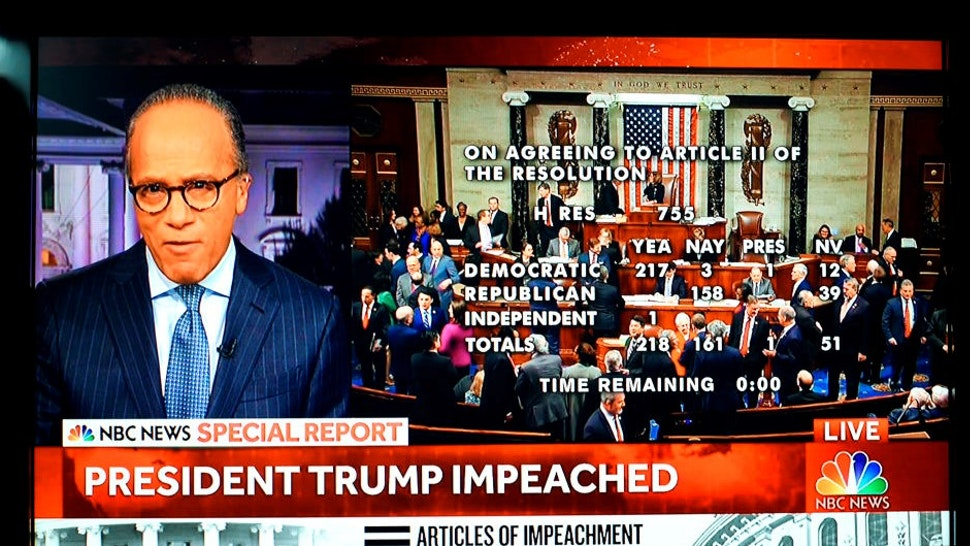 DECEMBER 18, 2019: A screen shot of live NBC-TV coverage of the vote to impeach President Donald Trump shows NBC News anchor Lester Holt and the members of Congress as the vote to impeach Trump is approved by the House of Representatives in Washington, D.C. (Photo by