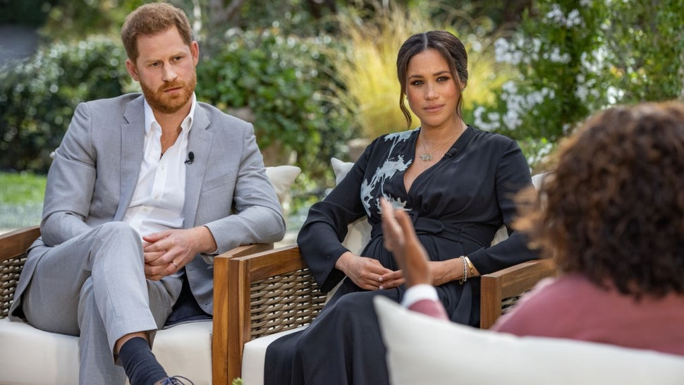 UNSPECIFIED - UNSPECIFIED: In this handout image provided by Harpo Productions and released on March 5, 2021, Oprah Winfrey interviews Prince Harry and Meghan Markle on A CBS Primetime Special premiering on CBS on March 7, 2021. (Photo by