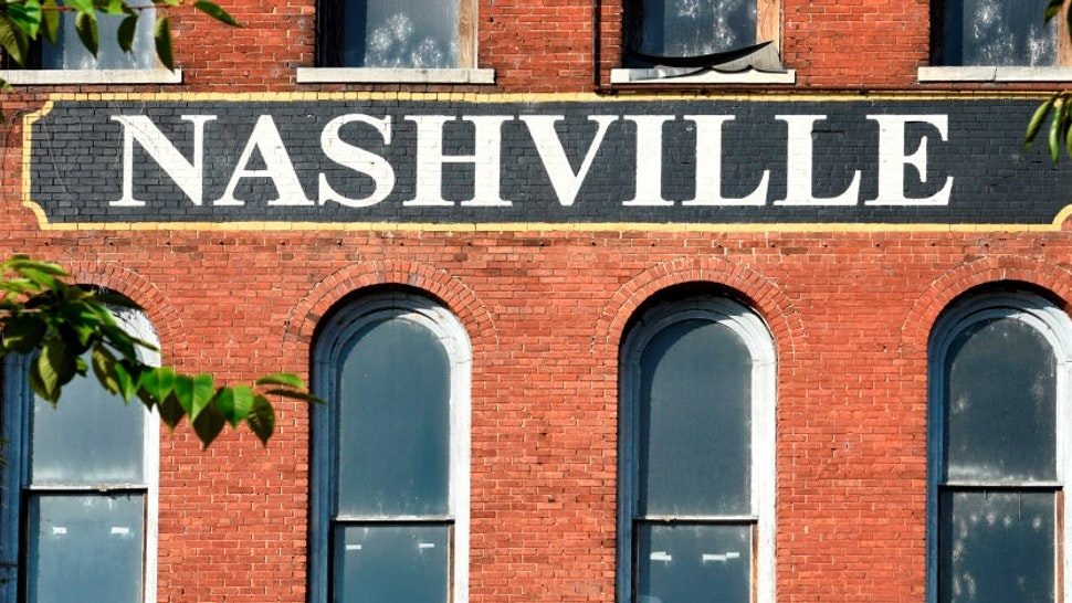NASHVILLE, TENNESSEE - SEPTEMBER 2, 2019: The facade of a 19th century brick warehouse along the Cumberland River in downtown Nashville, Tennessee. (Photo by