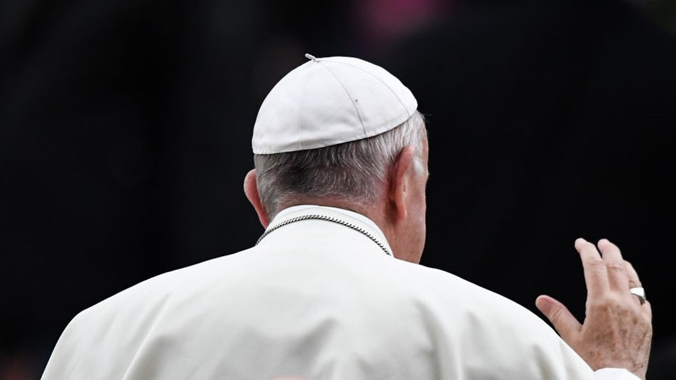 DUBLIN, IRELAND - AUGUST 25: Pope Francis attends the festival of families at Croke Park on 25 August , 2018 in Dublin, Ireland. Pope Francis is the 266th Catholic Pope and current sovereign of the Vatican. His visit, the first by a Pope since John Paul II's in 1979, is expected to attract hundreds of thousands of Catholics to a series of events in Dublin and Knock. During his visit he will have private meetings with victims of sexual abuse by Catholic clergy. (Photo by