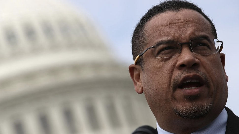 """Reps. Walter Jones And Barbara Lee Voice Voice Opposition To Escalating U.S. Involvement In Syrian Civil War WASHINGTON, DC - MARCH 21: Rep. Keith Ellison (D-MN) waits to speak during a press conference outside the U.S. Capitol in opposition to the involvement of U.S. military forces in Syria March 21, 2017 in Washington, DC. U.S. members of Congress voiced their concern about """"escalating U.S. involvement in the Syrian Civil WarÓ during the event. (Photo by Win McNamee/Getty Images)"""