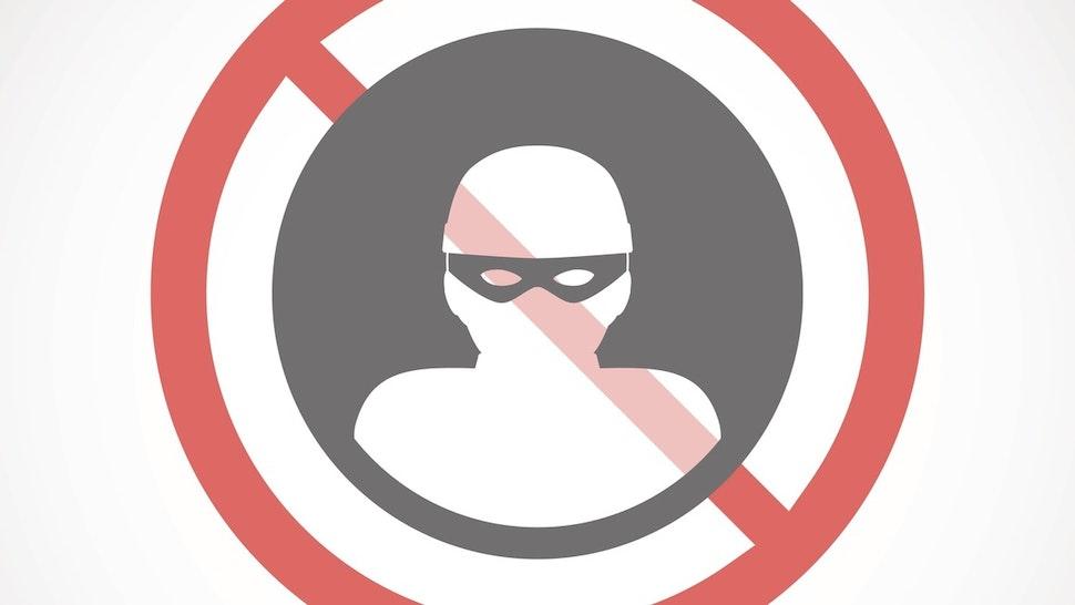 Forbidden signal with a thief - stock vector Illustration of a forbidden signal with a thief
