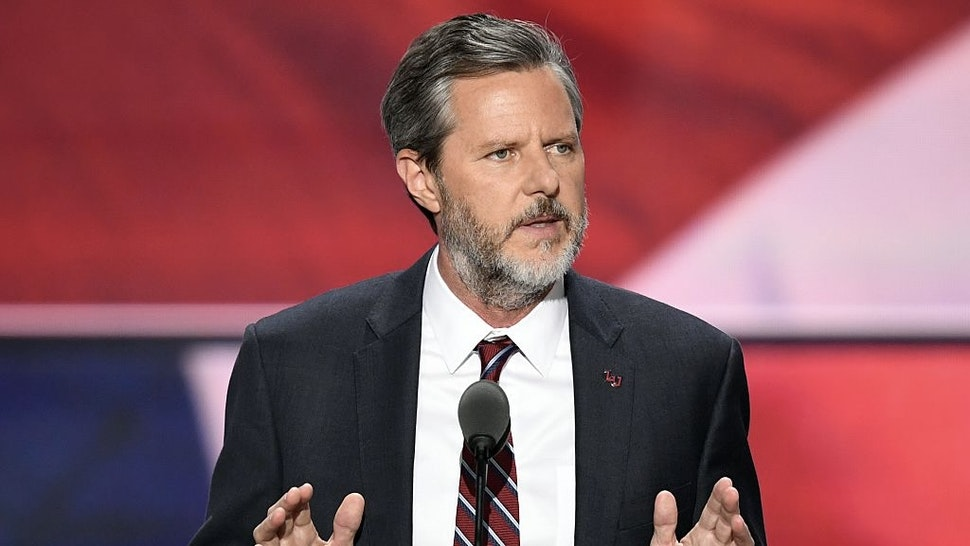 The President of Liberty University, Jerry Falwell, Jr., speaks on the last day of the Republican National Convention on July 21, 2016, in Cleveland, Ohio. / AFP / Jim WATSON (Photo credit should read JIM WATSON/AFP via Getty Images)