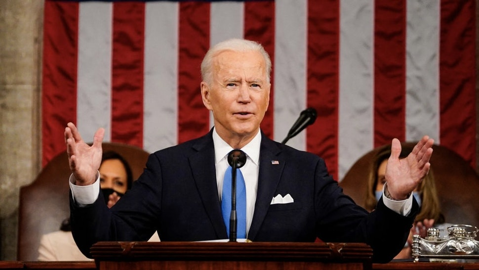 US-POLITICS-BIDEN US President Joe Biden addresses a joint session of Congress at the US Capitol in Washington, DC, on April 28, 2021. (Photo by Melina Mara / POOL / AFP) (Photo by MELINA MARA/POOL/AFP via Getty Images)