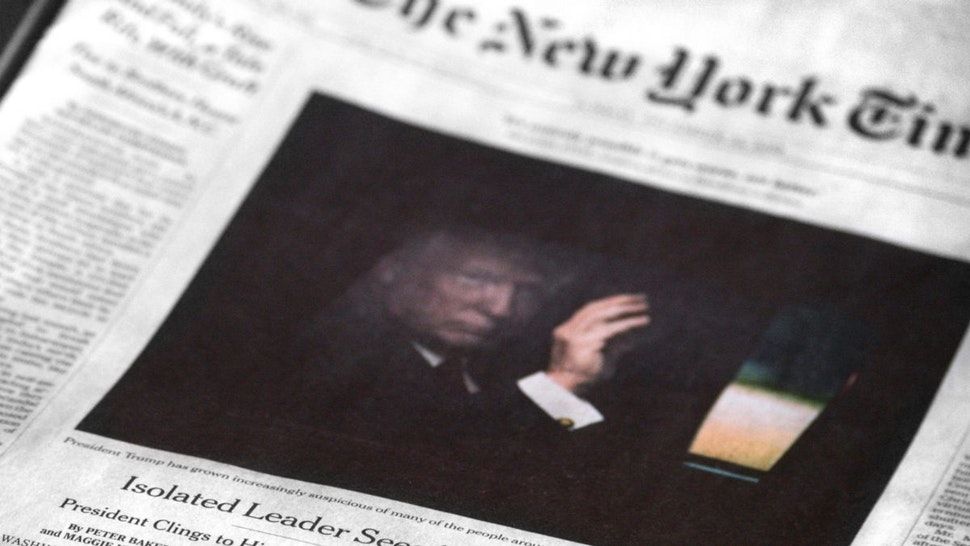 A copy of the December 23, 2018 edition of The New York Times features a front-page article by Peter Baker and Maggie Haberman referring to U.S. President Donald Trump as an isolated leader who sees 'a war every day.'