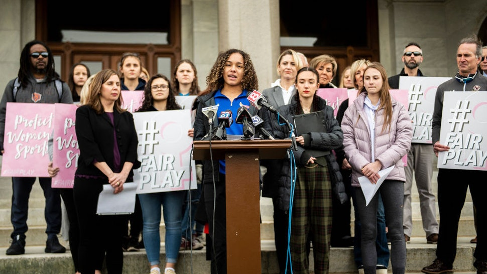 Danbury High School sophomore Alanna Smith speaks during a press conference at the Connecticut State Capitol Wednesday, Feb. 12, 2020, in downtown Hartford, Conn. The families of high school athletes Selina Soule, Alanna Smith and Chelsea Mitchell have filed a federal lawsuit against the Connecticut Association of Schools and multiple school districts alleging discrimination. The athletes say they lost out on top finishes and possible scholarship opportunities because a statewide policy allows transgender athletes to compete against cisgender girls. (Kassi Jackson/Hartford Courant/TNS)