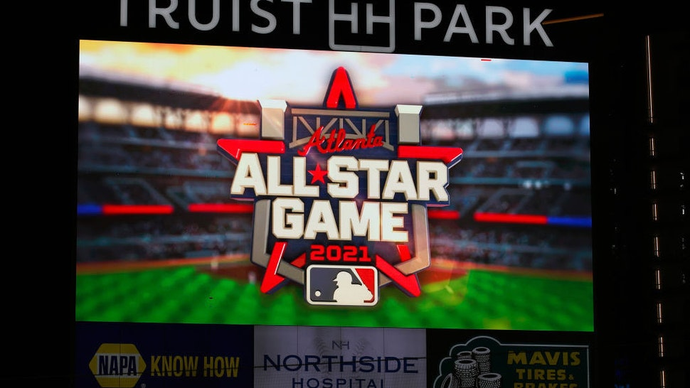 ATLANTA, GA - SEPTEMBER 24: The 2021 All Star Game Logo is displayed on the screen prior to the game between the Miami Marlins and Atlanta Braves at Truist Park on September 24, 2020 in Atlanta, Georgia. (Photo by Todd Kirkland/Getty Images) *** Local Caption ***
