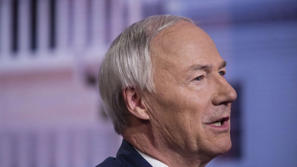 Asa Hutchinson, governor of Arkansas, speaks during a Bloomberg Television interview in New York, U.S., on Tuesday, May 28, 2019. Hutchinson discussed what Arkansas is doing to brace for more severe flooding in the state.